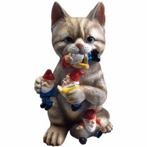 Mischievous Cat Massacre Garden Gnome Statue