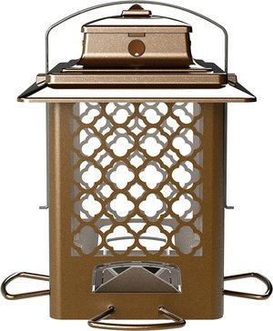 More Birds Bird Feeder Hopper Bird Feeder Large Seed Capacity 36 lb 4 Feeding Ports Copper Finish