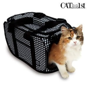 Necoichi Foldable Ultra Light Cat Carrier with Safety Net Black