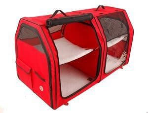 One for Pets - Cat Show House Portable Dog Kennel Shelter Red Cream Tan