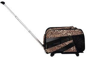 Pet Smart Cart Small Cheetah Rolling Carrier with wheels soft sided collapsible Folding Travel Bag Dog Cat Airline Approved Tote Luggage backpack