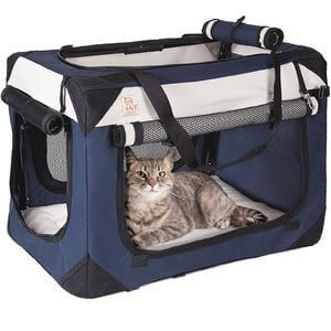 PetLuv Soothing Happy Cat Premium Soft Sided Cat Carrier & Travel Crate w Locking Zippers Comfy Plush Nap Pillow