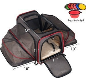 PetPeppy - Premium Airline Approved Expandable Pet Carrier by Pet Peppy- TWO SIDE Expansion Designed for Cats Dogs KittensPuppies - Extra Spacious Soft Sided Carrier