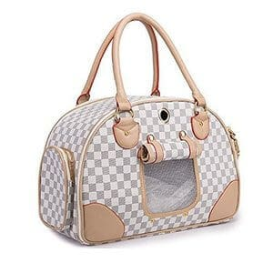 Wopet - Fashion Pet Dog Carrier PU Leather Dog Carriers Luxury Cat Travel Carrying Handbag for Outdoor Travel Walking Hiking