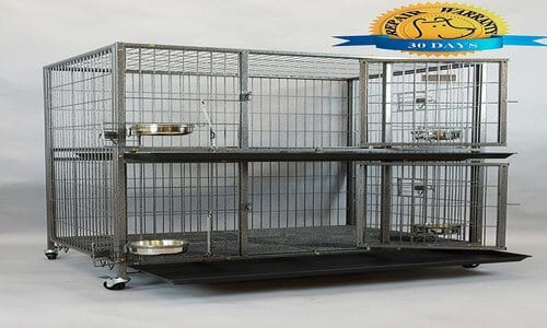 New Homey Pet Two Tier Heavy Duty Cage Kennel w Casters and Feeding Bowls