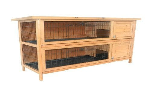 Pawhut 2 Story Stacked Wooden Outdoor Bunny Rabbit Hutch Guinea Pig House