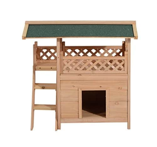 Pawhut 2-Story Wood Cat House