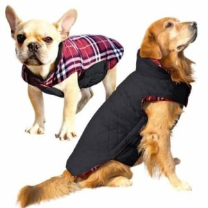 Albabara Dog Coat British Style Plaid Dog Winter Vest Cozy Waterproof Windproof Reversible Dog Jacket-min