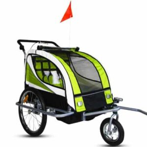 Kinbor New 2 in 1 Bicycle Pet Trailer Stroller for Pet Dog Bike Baby Jogger Single Stroller Green w Suspension-min