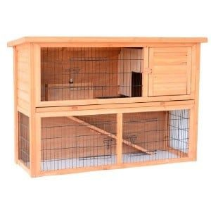 "Pawhut 54"" Compact Wooden Rabbit Hutch"