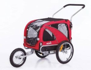 Janhiny Elite 3-in-1 Double Child Bike Two-Wheel Bicycle CargoTrailer with 2 Safety Harnesses Red//Black