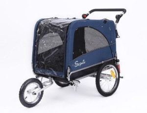 Sepnine 3 in 1 Luxury Large Sized Bike Trailer Bicycle Pet Trailer Jogger Dog Cage with Suspension 10308-min