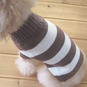 Turtleneck Stripes Dog Wool Sweater