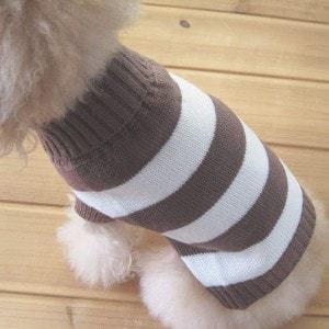 Turtleneck Stripes Dog Wool Sweater