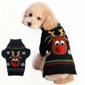 BOBIBI Dog Sweaters for Christmas Reindeer Pet Winter Knitwear