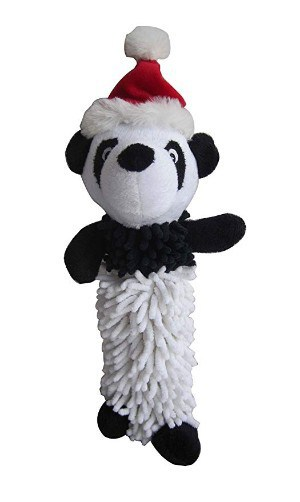 Iconic Pet Christmas Panda Plush Stuffed Squeaky Toy