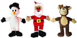 ASPCA 3-Pack Christmas Holiday Plush Dog Toys With Squeakers
