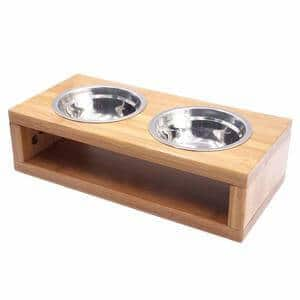 Blue Hole Elevated Dog Food Bowl With Wood Stand