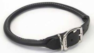 Circle T Black Rolled Leather Dog Collar