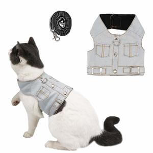 Ruris Cat Jeans Jacket Harness Vest with Matching Lead Leash Set