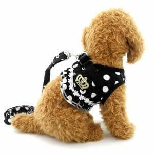 SELMAI Puppy Cat Small Girl Dog Dots Vest Harness Leash Set