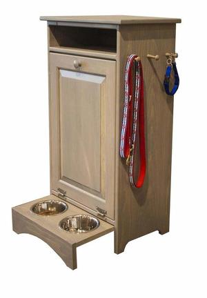 Solid Pine Country Style Pet Feeding Station