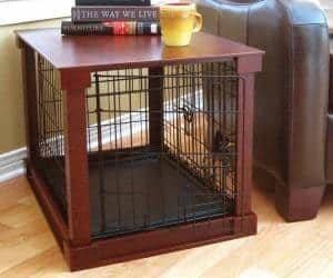 Indoor Wooden Mobile Dog Pet Cage With Crate Cover