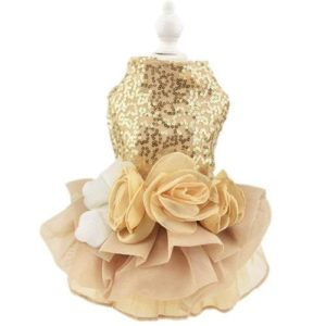 Biling Dog Dress Tutu Skirt Flower Dog Pet Cat Luxury Princess Wedding Dress
