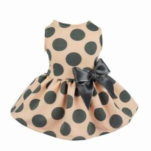 Fitwarm Vintage Pink Polka Dot Dog Dress for Pet Clothes Vest Shirts