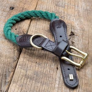 Country Range Rope Dog Collar in Green