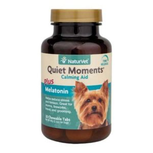 NaturVet Quiet Moments Dog Calming Aid Plus Melatonin, Calming Supplement