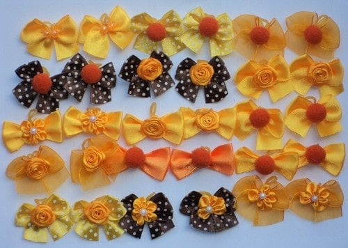 40 Dog Grooming Hair Bows-1.5 inch Fall Collection-Bright Orange and Brown