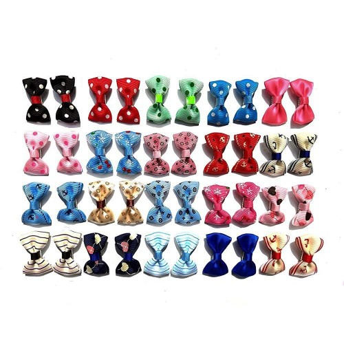 Aoyoho Pack of 40pcs/20pairs Baby Pet Dog Hair Clips Cat Puppy Bows Small Bowknot