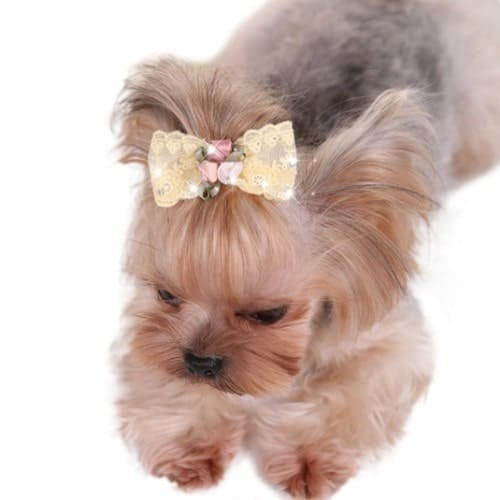 Dog Shiny Rhinstone Hair Clips Small Bowknot Pet Grooming Products Pet Lace Hair Bows