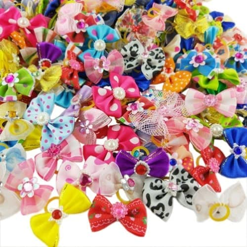 Hixixi 50pcs/Pack Pet Cat Dog Hair Bows Multicolor Rhinestone Beads Flowers Topknot with Rubber Bands