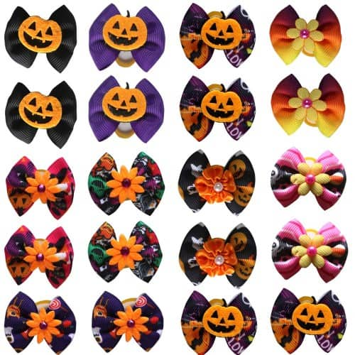 Masue Pets 40pcs/Pack Dog Hair Bows Pumpkin with Rubber Bands Thanksgiving Bows