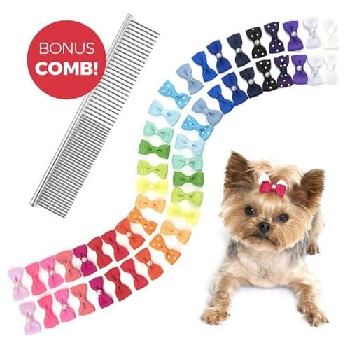 The Thoughtful Brand 50 Dog Hair Bows in Assorted Pairs