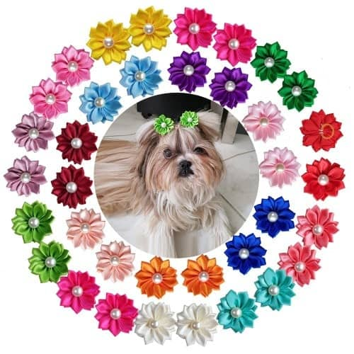 Yagopet 40pcs/pack 20pairs Cute New Dog Hair Bows with Rubber Bands