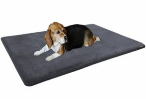 Dogbed4less Premium Cooling Memory Foam Pet Mat with Velour Fleece Topper