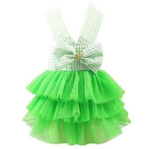 Letdown Puppy Bubble Skirt Stripe Lace Bow Princess Dress