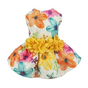 Fitwarm Floral Dog Harness Dress