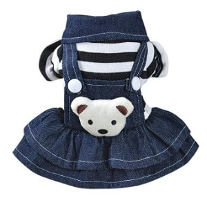 vmree Dog Apparel Puppy Dress Strap Denim Skirt