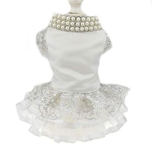 DIAN DIAN Pet Luxury Lace Pearl Dog Dress