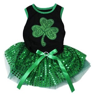 Petitebella Sequins Clover Leaf Black Shirt Green Sequins Tutu