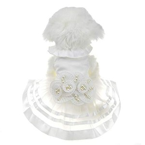 FLAdorepet White Pearl Flower Dog Puppy Luxury Bow Dress