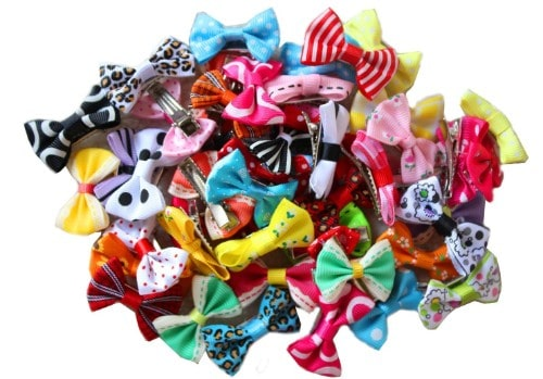 yagopet 50pcs/25pairs New Puppy Dog Hair Clips Small Bowknot with Tiny Alligator Clips