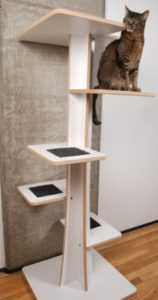 Baobab Modern Cat Tree in Eco-Friendly White Laminate and Black Mohair (Faux)