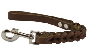Dogs My Love Brown Leather Braided Dog Short Traffic Leash