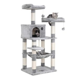 "FEANDREA 58"" Multi-Level Cat Tree with Sisal-Covered Scratching Posts"