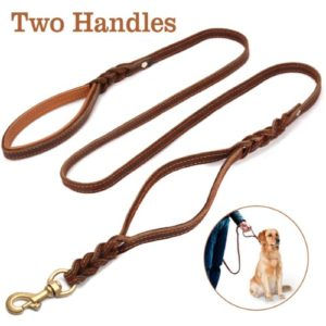 FOCUSPET Leather Dog Leash with Double Handle